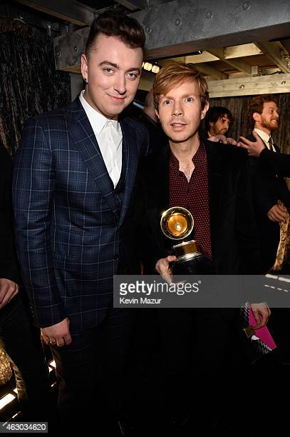 Sam Smith and Beck attend The 57th Annual GRAMMY Awards at STAPLES Center on February 8 2015 in Los Angeles California