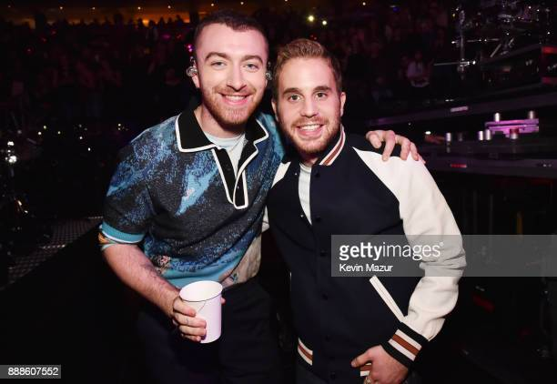 Sam Smith and Ben Platt attend Z100's Jingle Ball 2017 backstage on December 8 2017 in New York City
