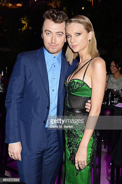 Sam Smith and Taylor Swift attend the Elle Style Awards 2015 at Sky Garden @ The Walkie Talkie Tower on February 24 2015 in London England