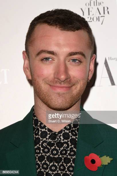 Sam Smith arrives at the Harper's Bazaar Woman Of The Year Awards held at Claridges Hotel on November 2 2017 in London England