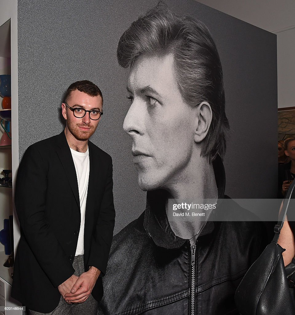Sam Smith attends a private view of 'Bowie/Collector', the personal art collection of David Bowie, at Sotheby's on November 1, 2016 in London, England.