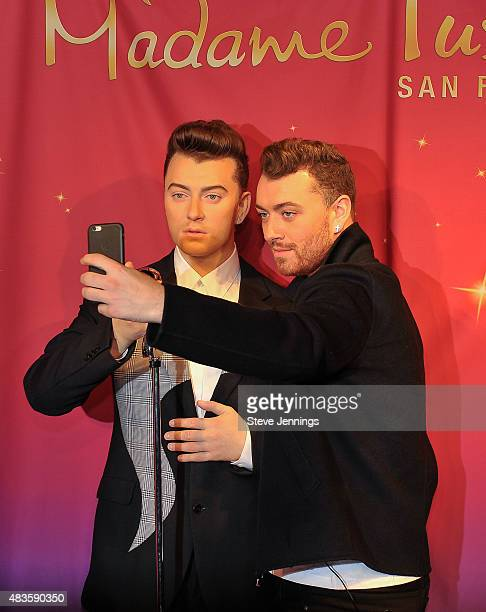 Sam Smith attends the unveiling of his wax figure at Madame Tussauds San Francisco on August 10 2015 in San Francisco California