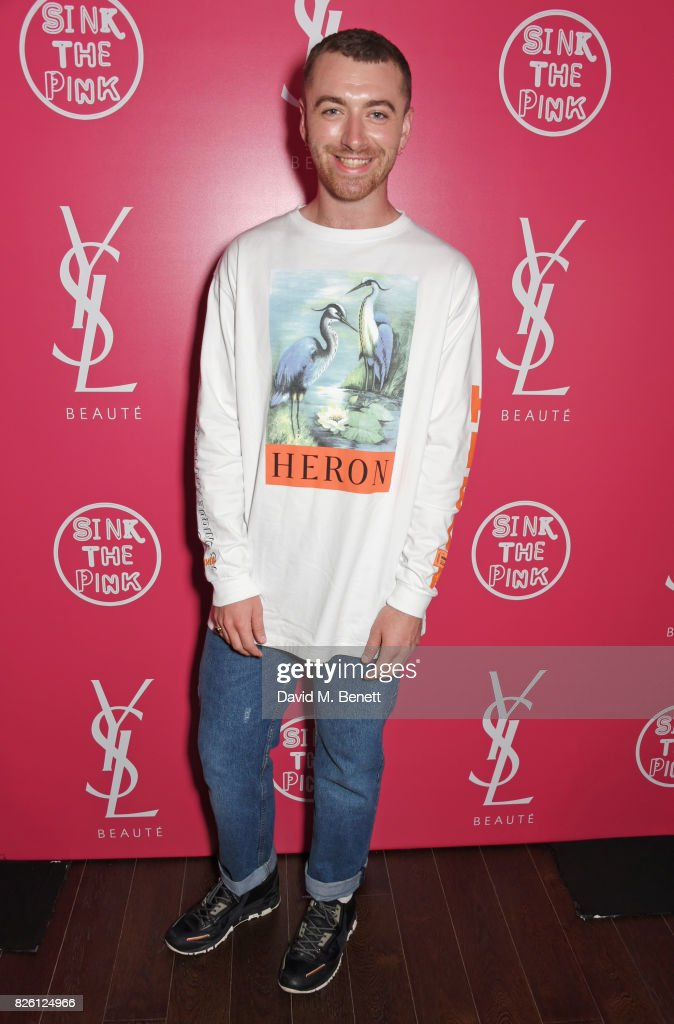 Sam Smith attends the #YSLBeautyClub party in collaboration with Sink The Pink at The Curtain on August 3, 2017 in London, England.