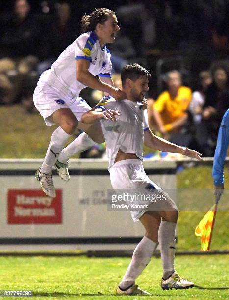 Sam Smith Gold Coast City celebrates scoring a goal during the FFA Cup round of 16 match between Moreton Bay United and Gold Coast City at Wolter...