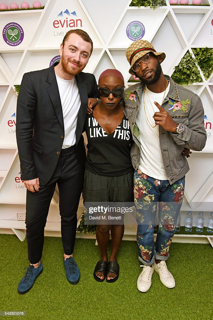 Sam Smith, <a gi-track='captionPersonalityLinkClicked' href=/galleries/search?phrase=Laura+Mvula&family=editorial&specificpeople=10006726 ng-click='$event.stopPropagation()'>Laura Mvula</a> and <a gi-track='captionPersonalityLinkClicked' href=/galleries/search?phrase=Tinie+Tempah&family=editorial&specificpeople=6742538 ng-click='$event.stopPropagation()'>Tinie Tempah</a> attend the evian Live Young suite during Wimbledon 2016 at the All England Tennis and Croquet Club on June 27, 2016 in London, England.