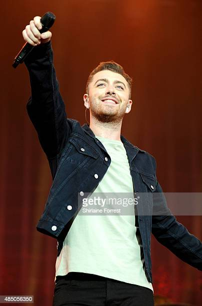 Sam Smith performs on Day 2 of the V Festival at Weston Park on August 23 2015 in Stafford England
