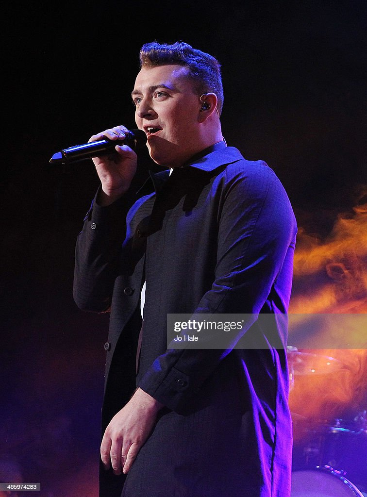 <a gi-track='captionPersonalityLinkClicked' href=/galleries/search?phrase=Sam+Smith+-+Singer&family=editorial&specificpeople=12336931 ng-click='$event.stopPropagation()'>Sam Smith</a> performs on stage for MTV Brand New For 2014 Showcase at Islington Assembly Hall on January 30, 2014 in London, United Kingdom.