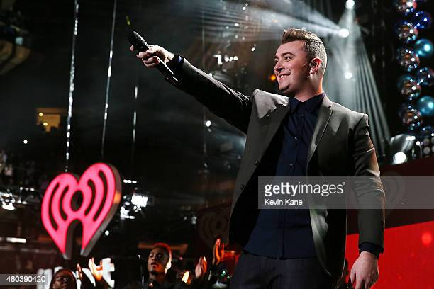 Sam Smith performs onstage during iHeartRadio Jingle Ball 2014 hosted by Z100 New York and presented by Goldfish Puffs at Madison Square Garden on...