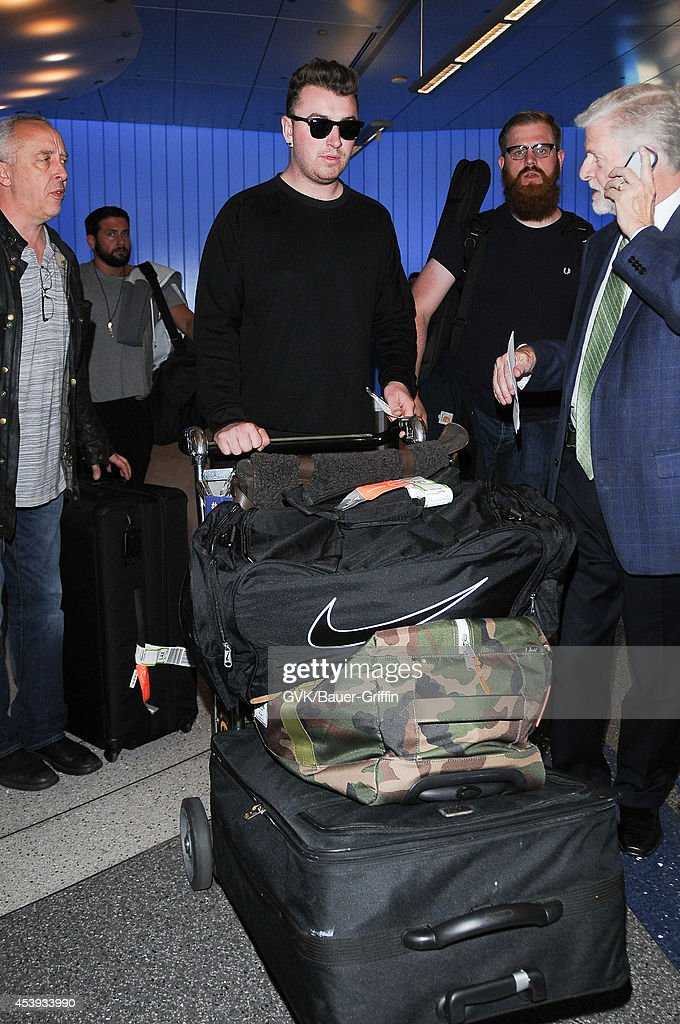 Sam Smith seen at LAX on August 21, 2014 in Los Angeles, California.