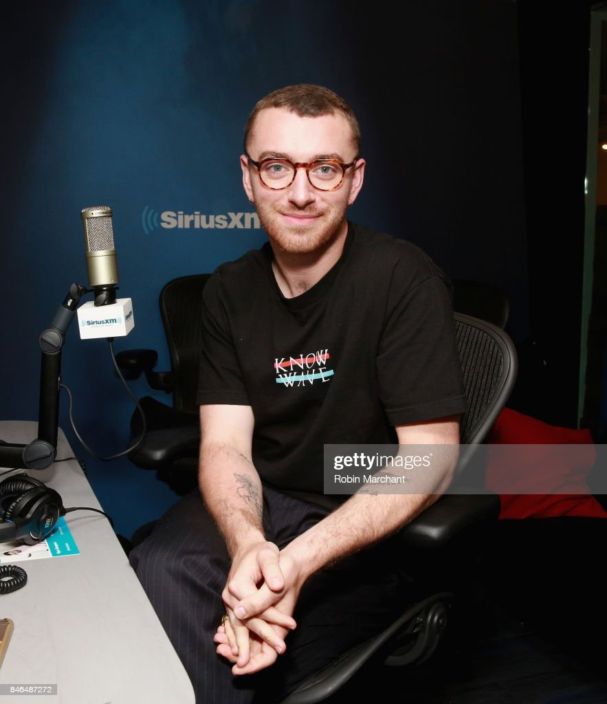 Sam Smith visits 'The Morning Mash Up' on SiriusXM Hits 1 at SiriusXM Studios on September 13, 2017 in New York City.
