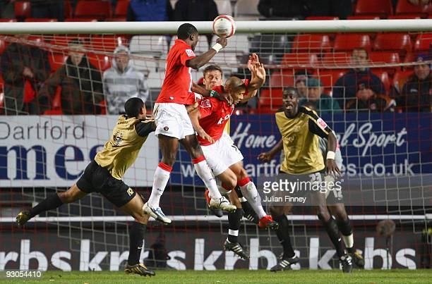 Sam Sodje of Charlton scores a header during the CocaCola League One match between Charlton Athletic and MK Dons at The Valley on November 14 2009 in...