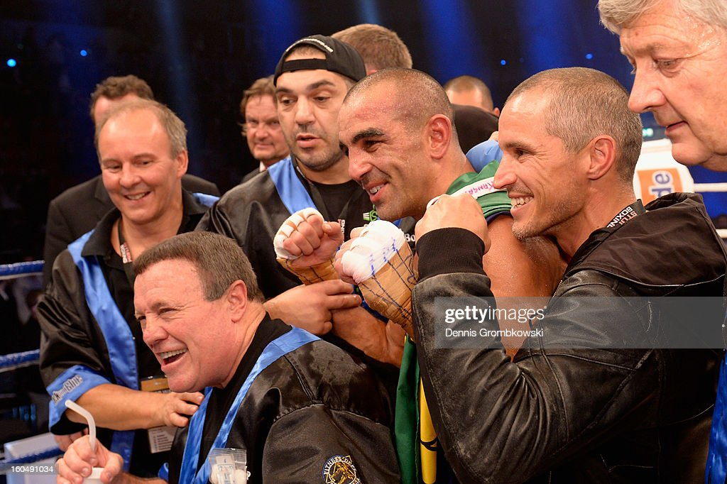Sam Soliman of Australia celebrates after his IBF Middleweight Eliminator fight against Felix Sturm of Germany at ISS Dome on February 1, 2013 in Duesseldorf, Germany.