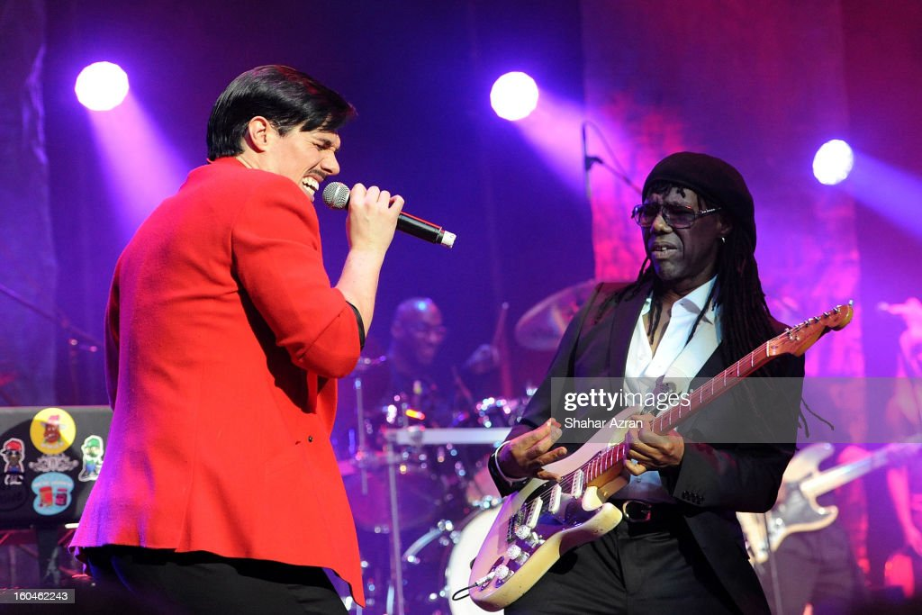 Sam Sparro (L) and Nile Rodegrs perform at the 2013 We Are Family Foundation Gala at Hammerstein Ballroom on January 31, 2013 in New York City.