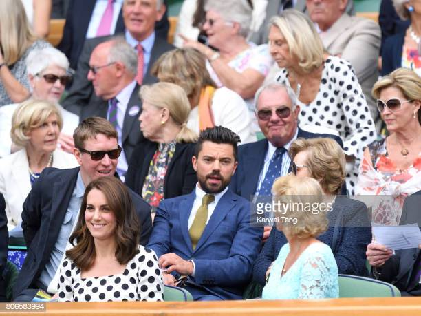 Sam Spruell Catherine Duchess of Cambridge and Dominic Cooper attend day one of the Wimbledon Tennis Championships at Wimbledon on July 3 2017 in...