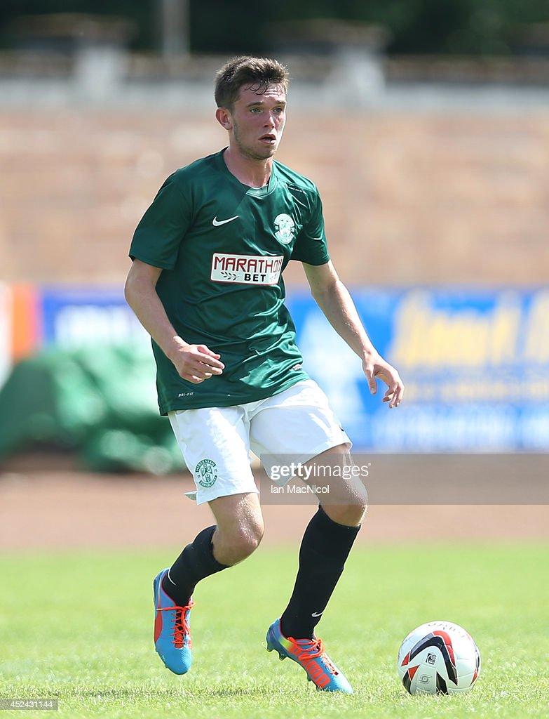 Sam Stanton of Hiberniancontrols the ball during the Pre Season Friendly match between Stirling Albion and Hibernian at Forthbank Stadium on July 20, 2014 in Stirling, Scotland.