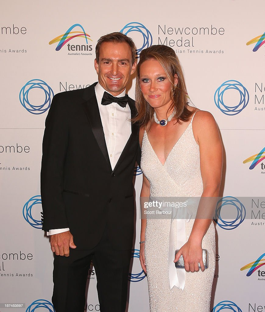 Sam Stosur and her coach coach David Taylor arrive ahead of the 2012 John Newcombe Medal at Crown Palladium on December 3, 2012 in Melbourne, Australia.