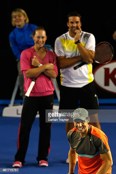 Sam Stosur and Pat Rafter of Australia watch Rafael Nadal of Spain serve in the Kids Tennis Day ahead of the 2014 Australian Open at Melbourne Park...
