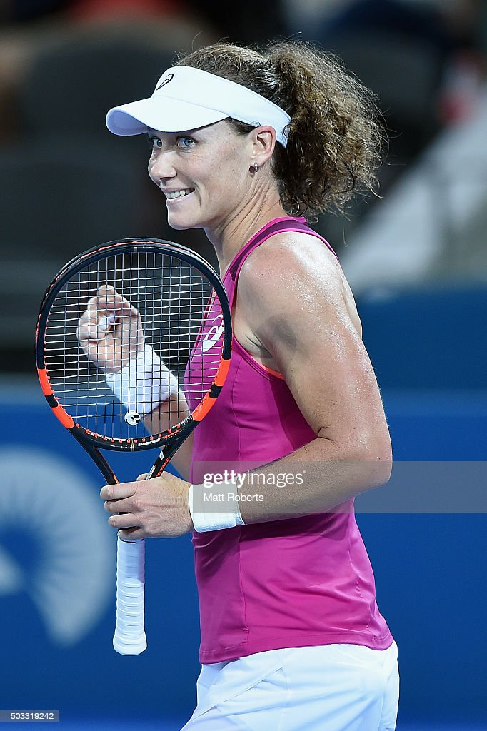 Sam Stosur of Australia celebrates winning her match against Jana Cepelova of Solvakia during day two of the 2016 Brisbane International at Pat Rafter Arena on January 4, 2016 in Brisbane, Australia.