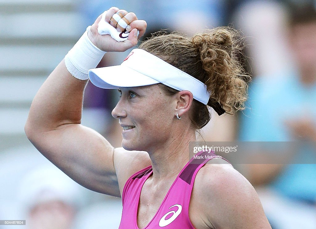 Sam Stosur of Australia celebrates winning match point in her match against Roberta Vinci of Italy during day two of the 2016 Sydney International at Sydney Olympic Park Tennis Centre on January 11, 2016 in Sydney, Australia.