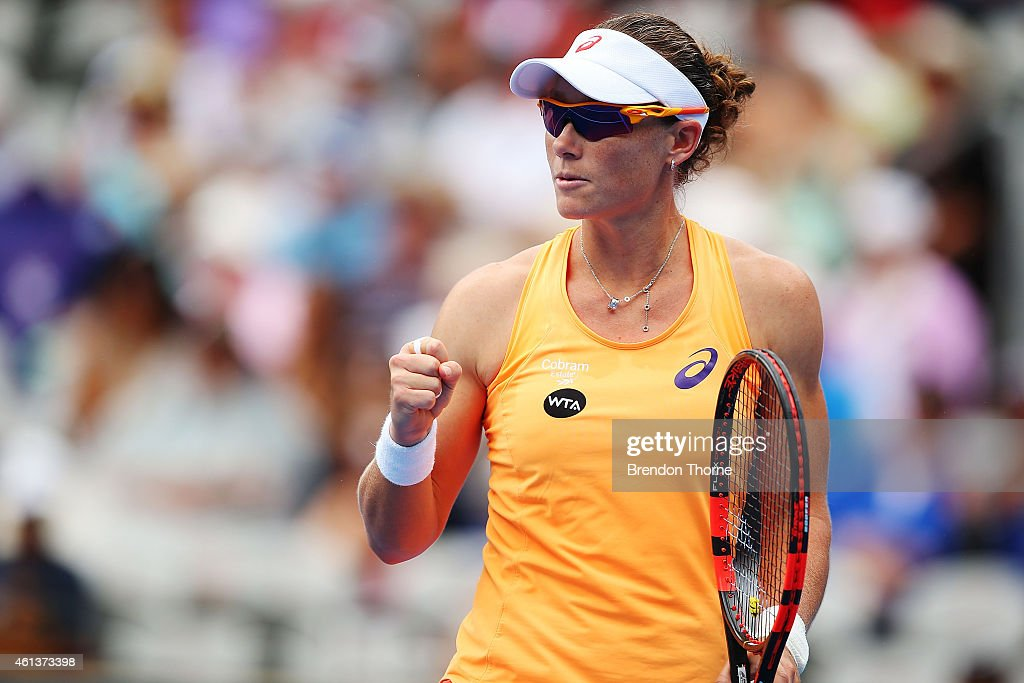 Sam Stosur of Australia gestures after claiming the opening set in her first round match against Lucie Safarova of the Czech Republic during day two of the 2015 Sydney International at Sydney Olympic Park Tennis Centre on January 12, 2015 in Sydney, Australia.