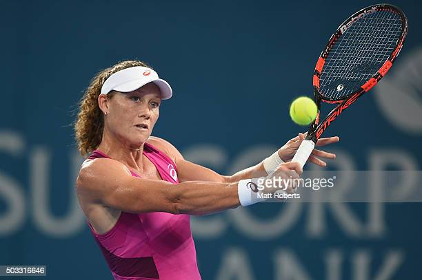 Sam Stosur of Australia plays a backhand against Jana Cepelova of Solvakia during day two of the 2016 Brisbane International at Pat Rafter Arena on...