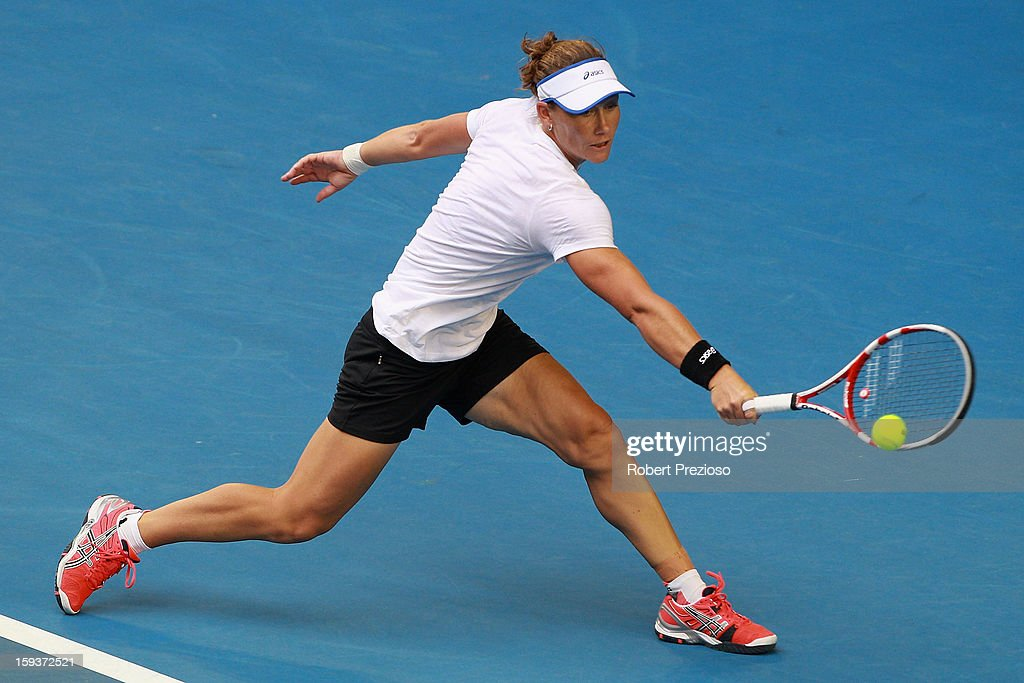 Sam Stosur of Australia plays a backhand ahead of the 2013 Australian Open at Melbourne Park on January 13, 2013 in Melbourne, Australia.