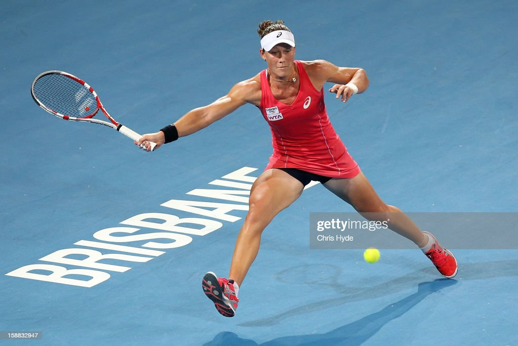 Sam Stosur of Australia plays a forehand in her match against Sofia Arvidsson of Sweden during day two of the Brisbane International at Pat Rafter Arena on December 31, 2012 in Brisbane, Australia.