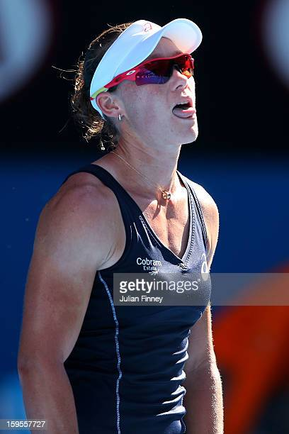 Sam Stosur of Australia reacts in her second round match against Jie Zheng of China during day three of the 2013 Australian Open at Melbourne Park on...