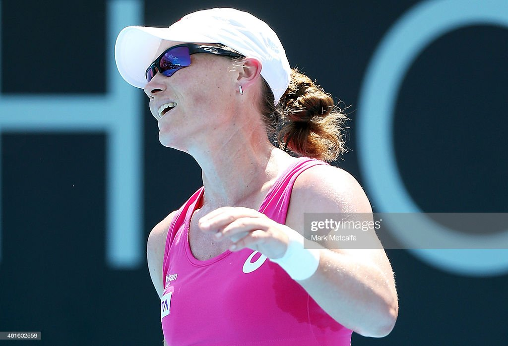 Sam Stosur of Australia reacts to losing a point in her semi final match against Klara Zakopalova of the Czech Republic during day six of the Moorilla Hobart International at Domain Tennis Centre on January 10, 2014 in Hobart, Australia.