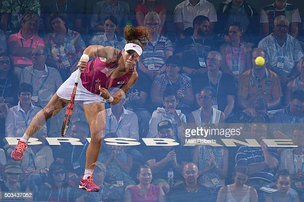 Sam Stosur of Australia serves in her match against Carla Suarez Navarro of Spain during day three of the 2016 Brisbane International at Pat Rafter...