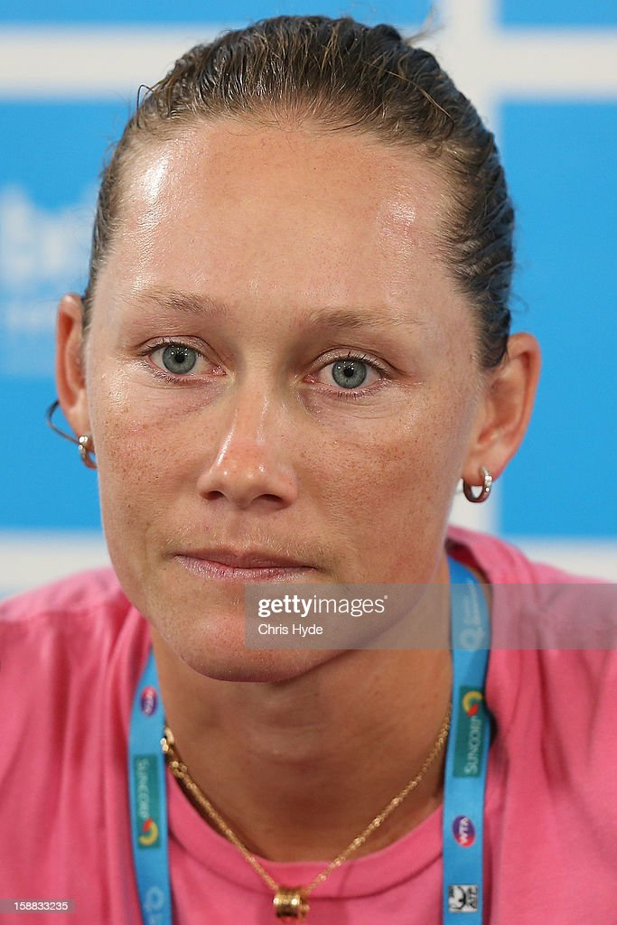 Sam Stosur of Australia talks during a press conference after losing her match against Sofia Arvidsson of Sweden during day two of the Brisbane International at Pat Rafter Arena on December 31, 2012 in Brisbane, Australia.