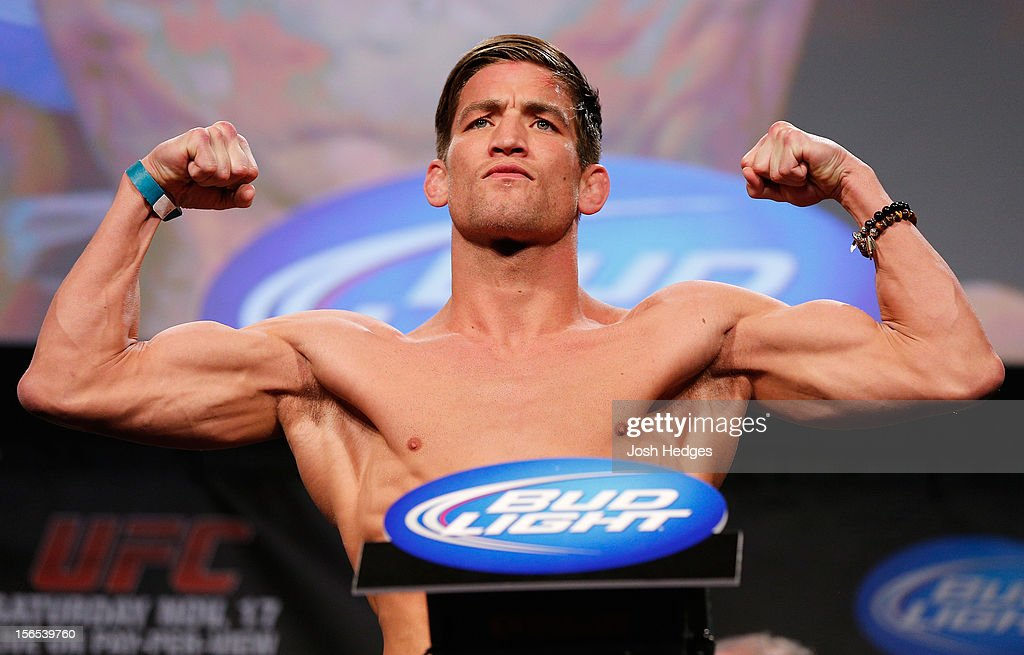 <a gi-track='captionPersonalityLinkClicked' href=/galleries/search?phrase=Sam+Stout&family=editorial&specificpeople=6677564 ng-click='$event.stopPropagation()'>Sam Stout</a> weighs in during the official UFC 154 weigh in at New City Gas on November 16, 2012 in Montreal, Quebec, Canada.