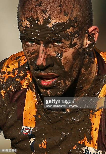 Sam Switkowski of Box Hill looks on covered in mud during the round 14 VFL match between Box Hill and Williamstown at Box Hill City Oval on July 9...