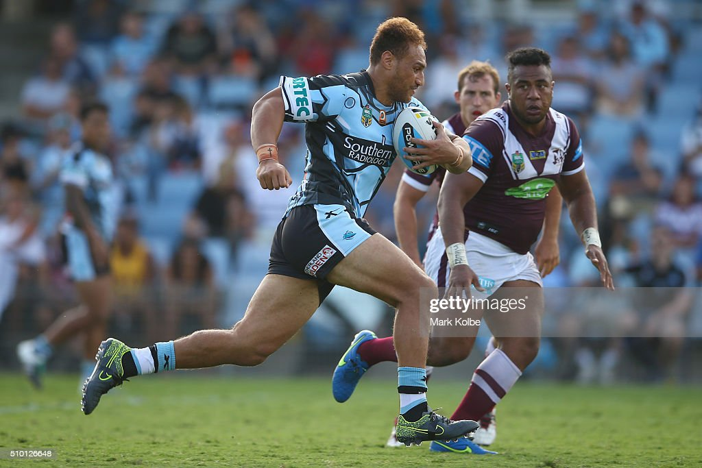 Sam Tagataese of the Sharks makes a break during the NRL Trial match between the Cronulla Sharks and the Manly Sea Eagles at Remondis Stadium on February 14, 2016 in Sydney, Australia.