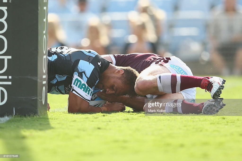 Sam Tagataese of the Sharks scores a try during the NRL Trial match between the Cronulla Sharks and the Manly Sea Eagles at Remondis Stadium on February 14, 2016 in Sydney, Australia.