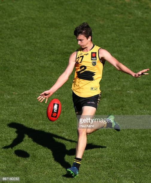Sam Taylor of Western Australia passes the ball during the U18 Championships match between Western Australia and Victoria Metro at Domain Stadium on...