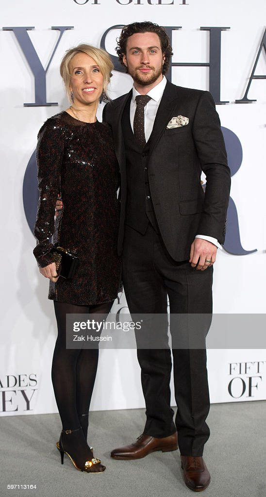 Sam TaylorJohnson and Aaron TaylorJohnson arriving at the UK Premiere of 'Fifty Shades Of Grey' at the Odeon Leicester Square in London