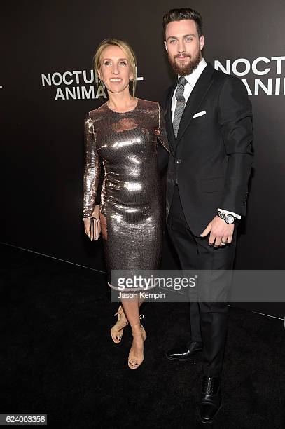 Sam TaylorJohnson and Aaron TaylorJohnson attend the New York Premiere of Tom Ford's 'Nocturnal Animals' at The Paris Theatre on November 17 2016 in...