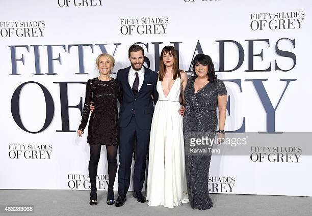 Sam TaylorJohnson Jamie Dornan Dakota Johnson and EL James attend the UK Premiere of 'Fifty Shades Of Grey' at Odeon Leicester Square on February 12...