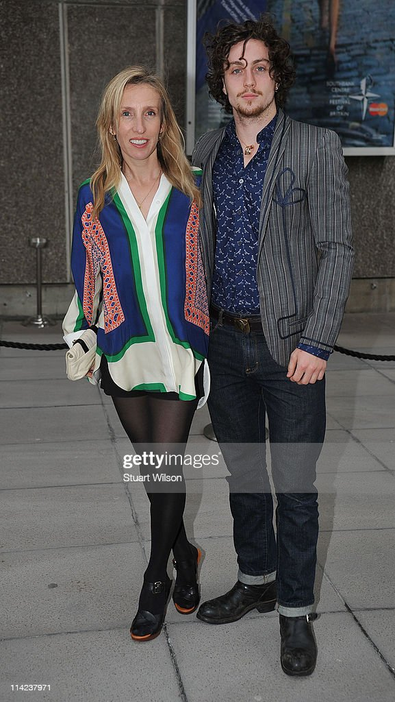 Sam Taylor-Wood (L) and Aaron Johnson attend the 'Tracey Emin: Love Is What You Want' Press View at The at The Hayward Gallery on May 16, 2011 in London, England.