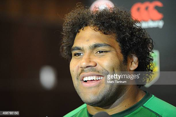 Sam Thaiday answers questions during an Australian Kangaroos media session at InterContinental Hotel Wellington on November 11 2014 in Wellington New...