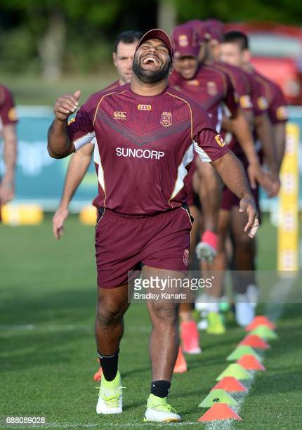 Sam Thaiday has a laugh during a Queensland Maroons State of Origin training session at InterContinental Sanctuary Cove Resort Training Field on May...