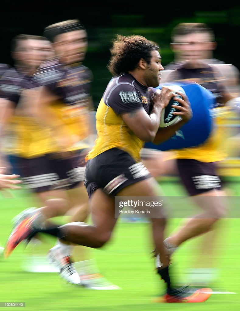 <a gi-track='captionPersonalityLinkClicked' href=/galleries/search?phrase=Sam+Thaiday&family=editorial&specificpeople=540245 ng-click='$event.stopPropagation()'>Sam Thaiday</a> in action during a Brisbane Broncos NRL training session on February 28, 2013 in Brisbane, Australia.