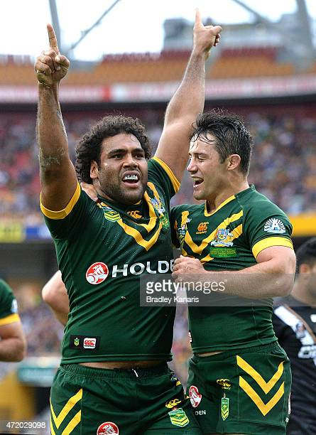 Sam Thaiday of Australia scores a try during the TransTasman Test match between the Australia Kangaroos and the New Zealand Kiwis at Suncorp Stadium...