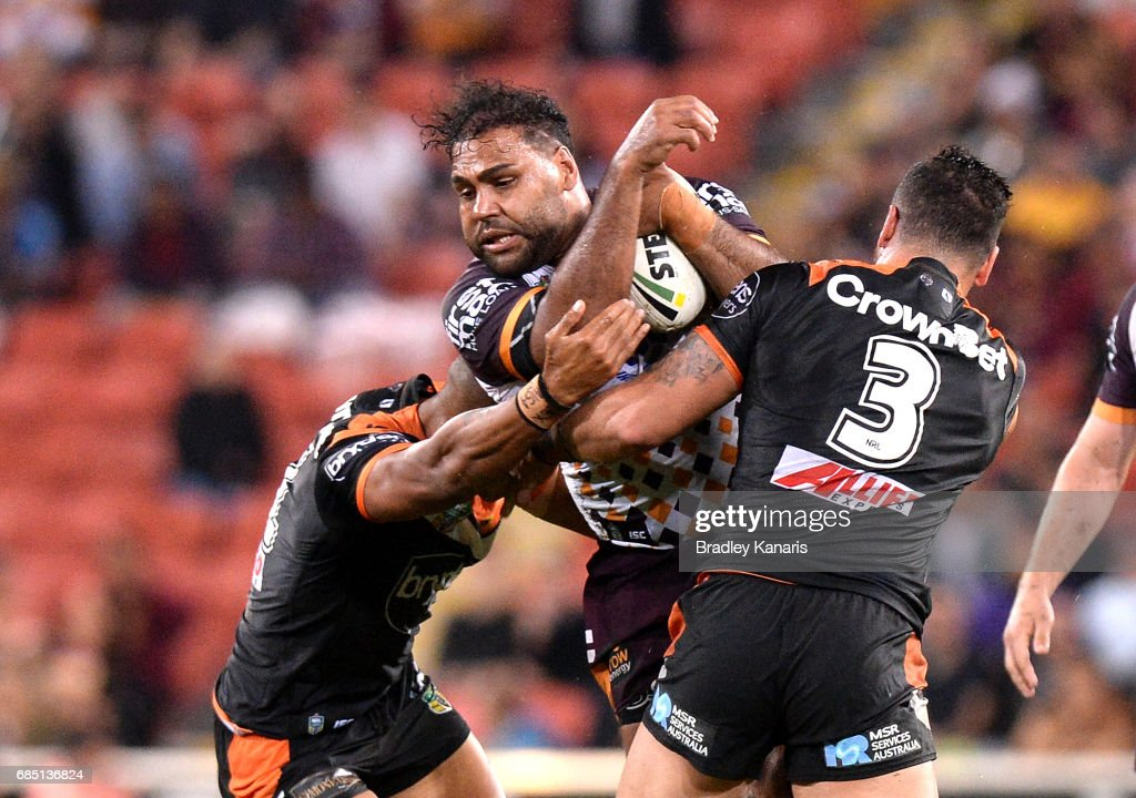 Sam Thaiday of the Broncos attempts to break through the defence during the round 11 NRL match between the Brisbane Broncos and the Wests Tigers at Suncorp Stadium on May 19, 2017 in Brisbane, Australia