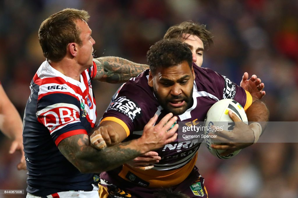Sam Thaiday of the Broncos is tackled during the NRL Qualifying Final match between the Sydney Roosters and the Brisbane Broncos at Allianz Stadium on September 8, 2017 in Sydney, Australia.