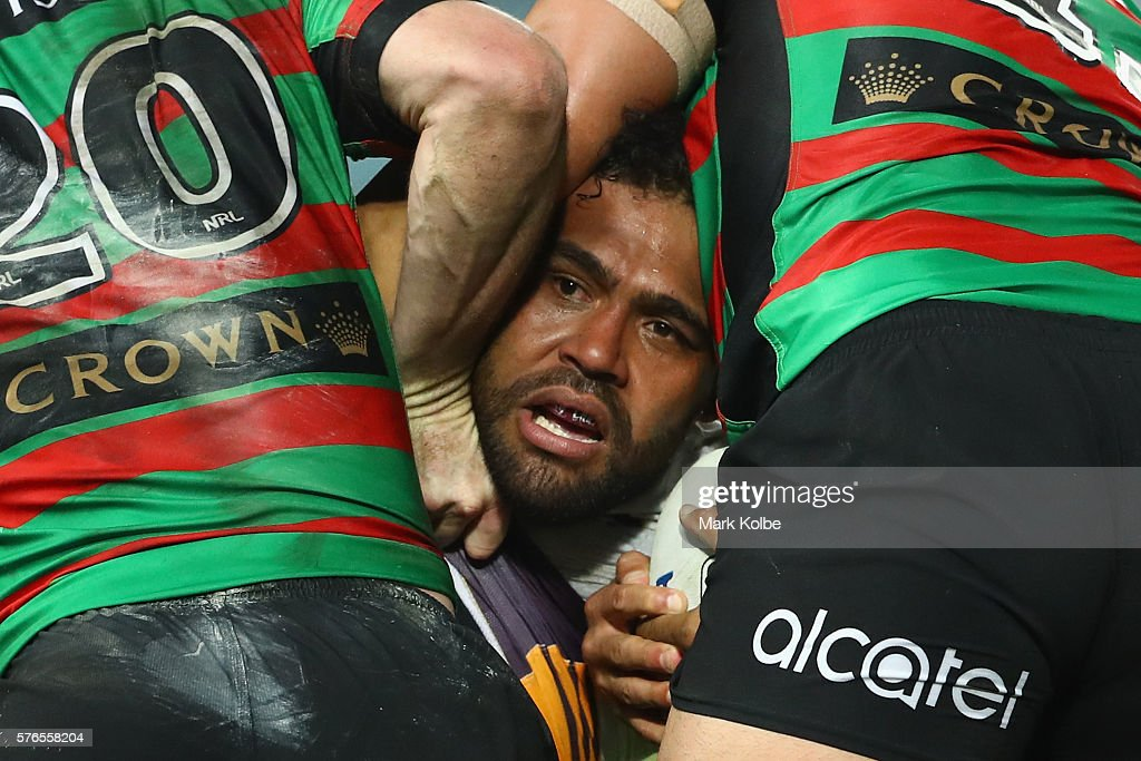 Sam Thaiday of the Broncos is tackled during the round 19 NRL match between the South Sydney Rabbitohs and the Brisbane Broncos at ANZ Stadium on July 16, 2016 in Sydney, Australia.