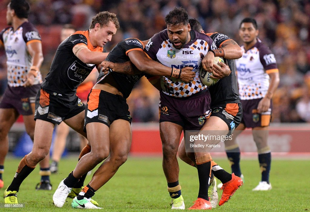 Sam Thaiday of the Broncos takes on the defence during the round 11 NRL match between the Brisbane Broncos and the Wests Tigers at Suncorp Stadium on May 19, 2017 in Brisbane, Australia