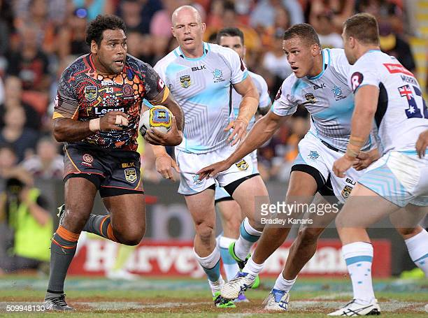 Sam Thaiday of the Indigenous All Stars looks to take on the defence during the NRL match between the Indigenous AllStars and the World AllStars at...