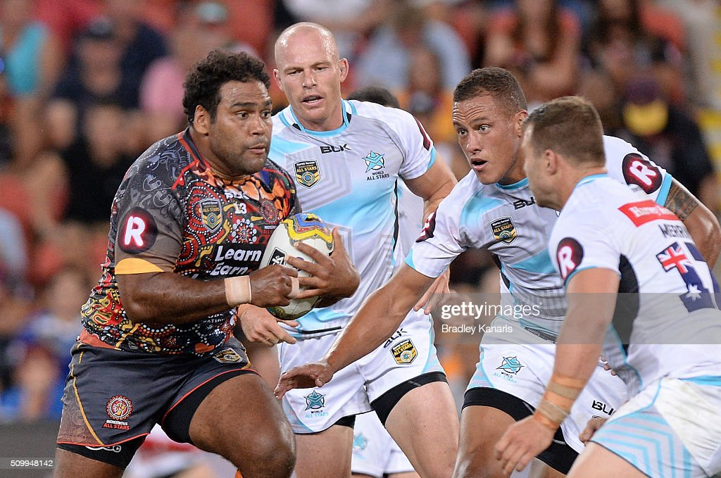<a gi-track='captionPersonalityLinkClicked' href=/galleries/search?phrase=Sam+Thaiday&family=editorial&specificpeople=540245 ng-click='$event.stopPropagation()'>Sam Thaiday</a> of the Indigenous All Stars looks to take on the defence during the NRL match between the Indigenous All-Stars and the World All-Stars at Suncorp Stadium on February 13, 2016 in Brisbane, Australia.